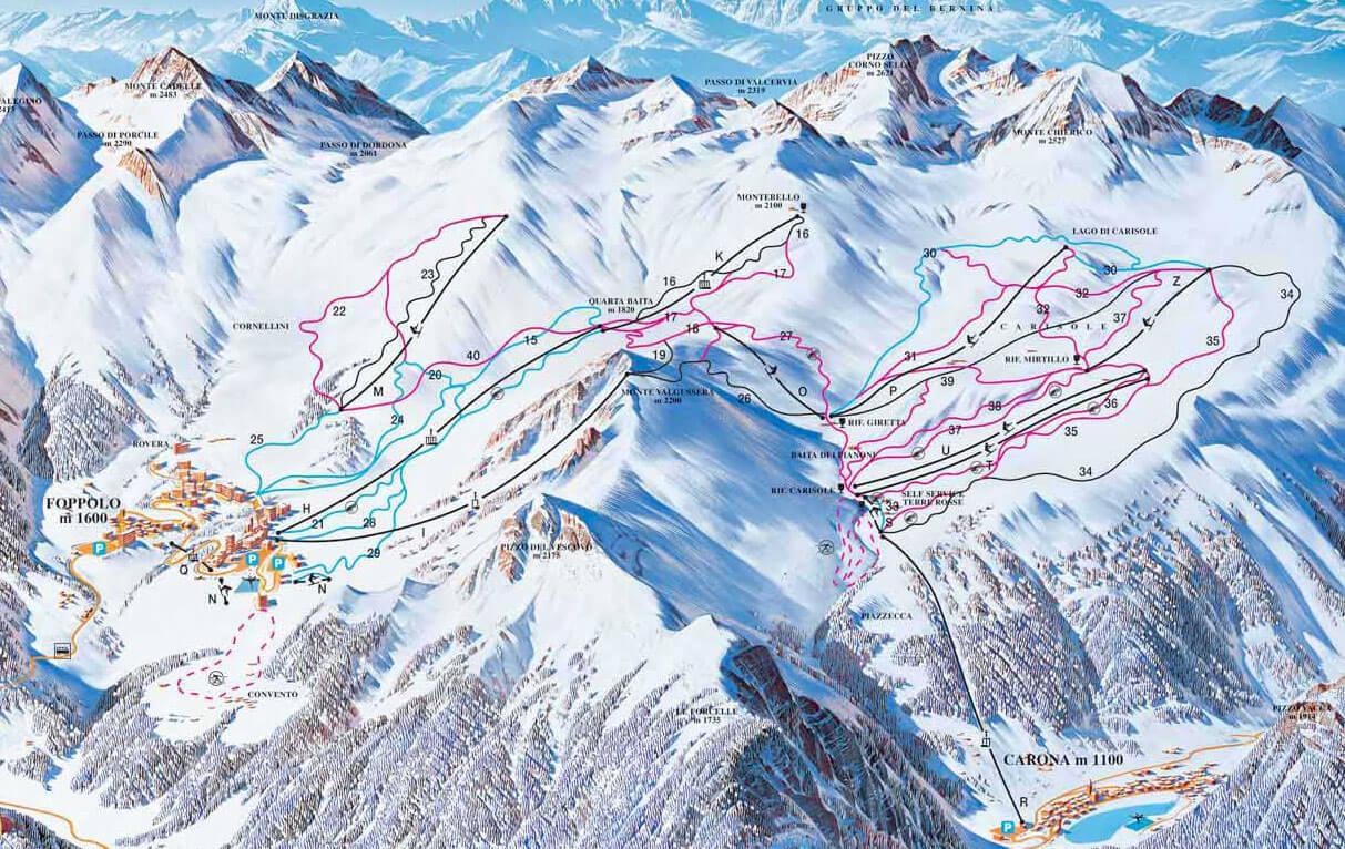 Foppolo Carona Skirama Mappa Piste Sci Italia Skirama