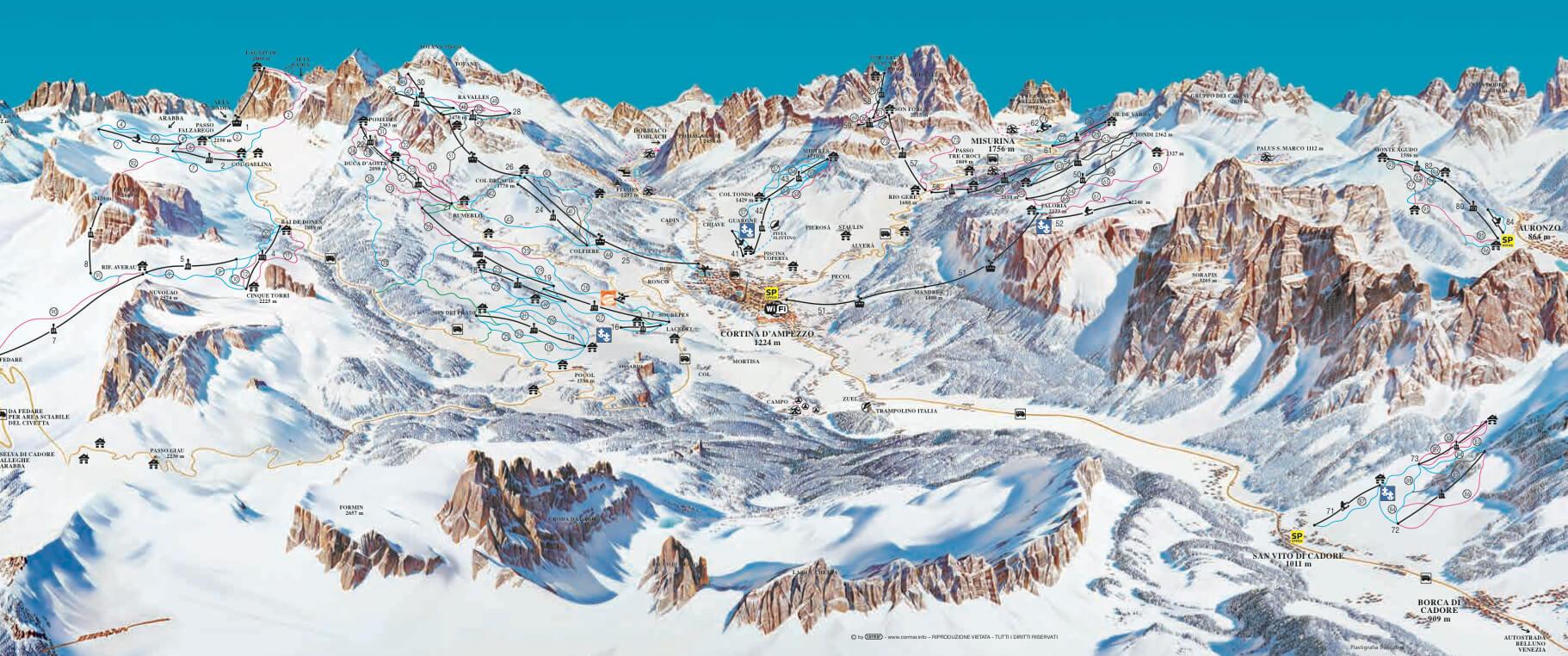 Skirama Cortina D Ampezzo Mappa Piste Sci Italia Skirama